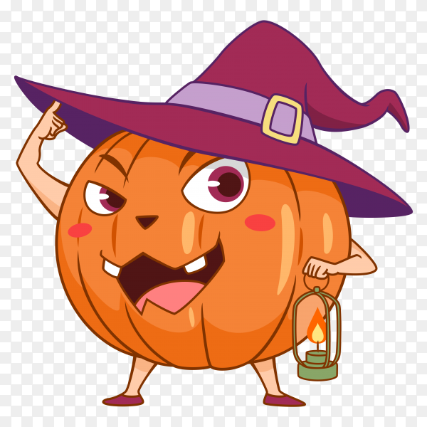 Cartoon halloween pumpkin with witch hat on transparent background PNG