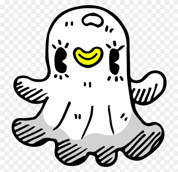 Cartoon snapcaht icon on transparent background PNG