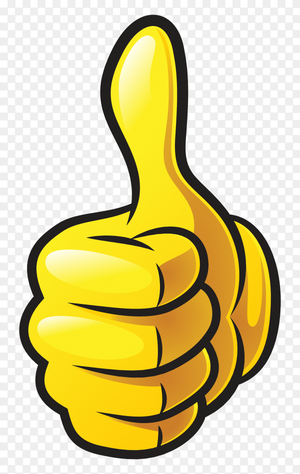 Cartoon thumb up like on transparent background PNG