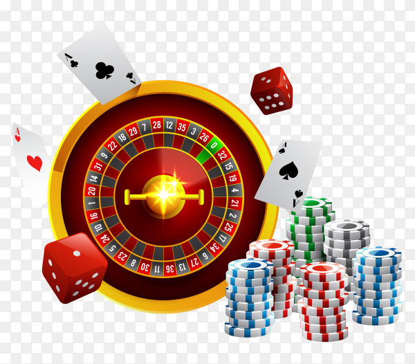 Casino night games Illustration on transparent background PNG