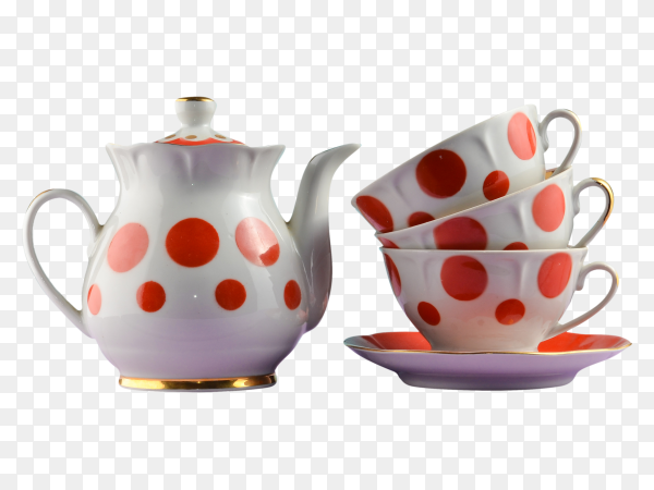 Ceramic teapot and cups polka dots on wooden table on transparent background PNG