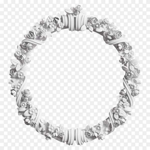 Classic white frame with ornament decor isolated on transparent background PNG
