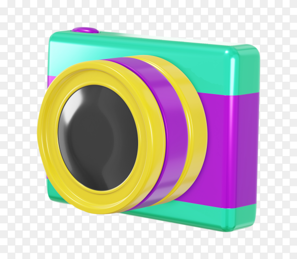 Colorful camera on transparent background PNG