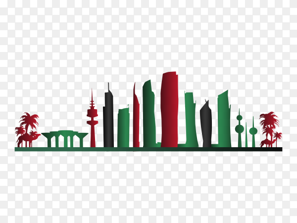 Colorful kuwait skyline on transparent background PNG