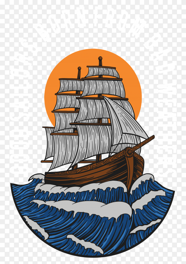 Colorful ship sailing on transparent background PNG