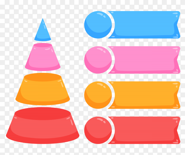 Colourful infographics with steps on transparent background PNG