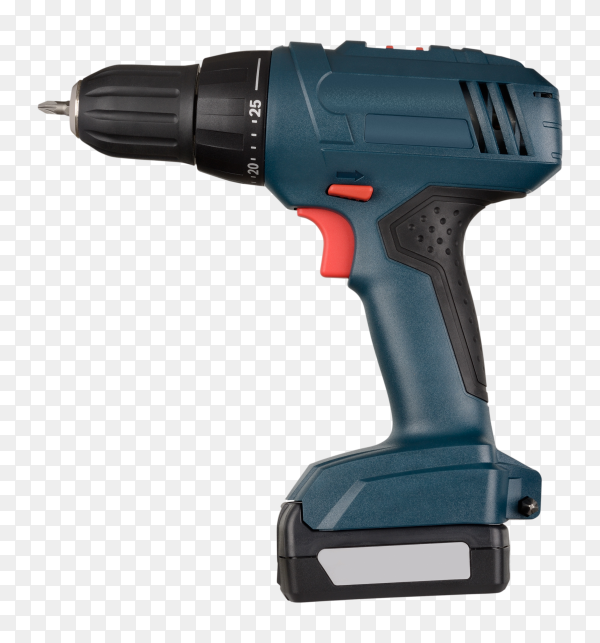 Cordless green screwdriver isolated on transparent background PNG
