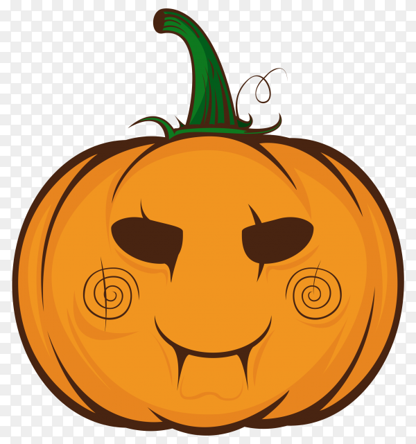 Cute cartoon orange pumpkin with happy emotion on transparent background PNG