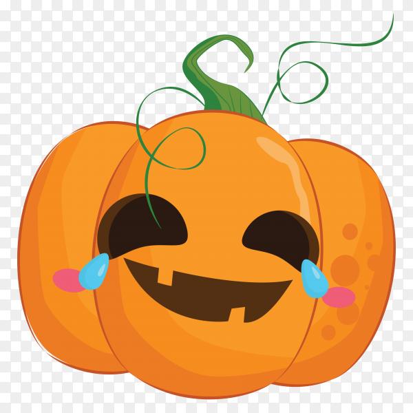 Cute halloween pumpkin emoji illustration on transparent PNG