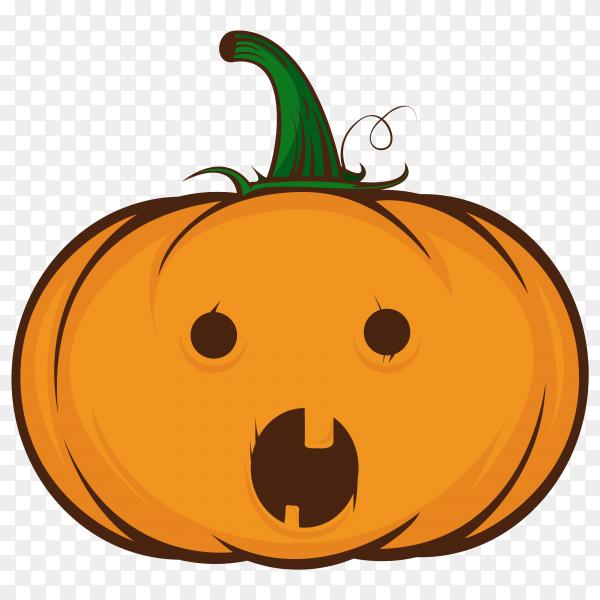 Cute halloween pumpkin emoji illustration on transparent background PNG