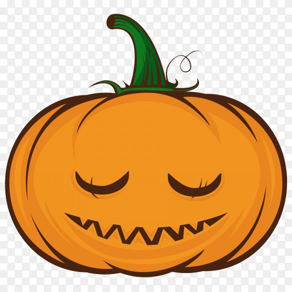 Cute halloween pumpkin face on transparent PNG