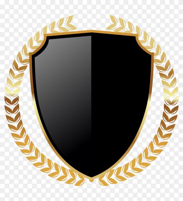 Dark golden empty badge label with wreathe on transparent PNG