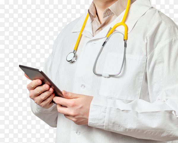 Doctor man wear white coat with tablet on transparent background PNG