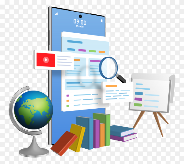 Education online concept web by using smartphone on transparent background PNG