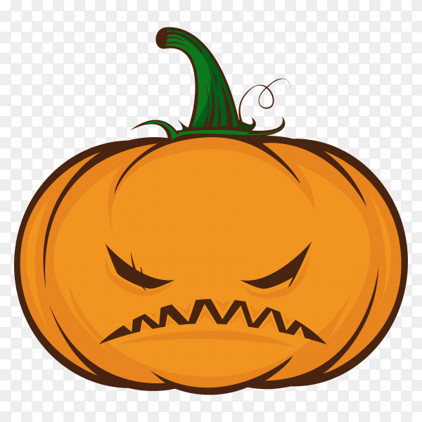 Emoji orange pumpkin with a angry face on transparent PNG