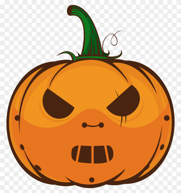 Emoji orange pumpkin with a angry face on transparent background PNG