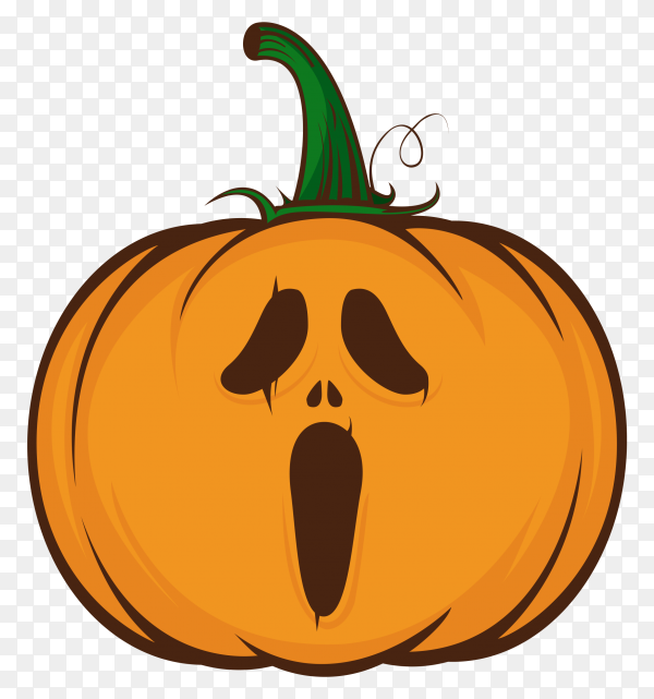 Emoji orange pumpkin with a surprised face on transparent background PNG