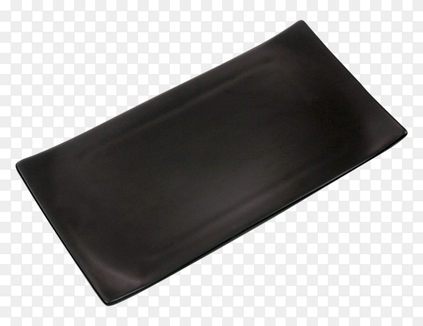 Empty black rectangle ceramic plate on transparent background PNG