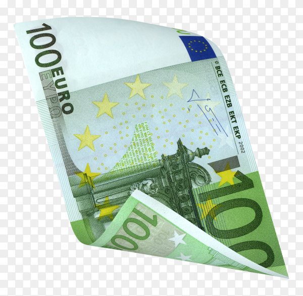 Hundred Euro banknote on transparent background PNG