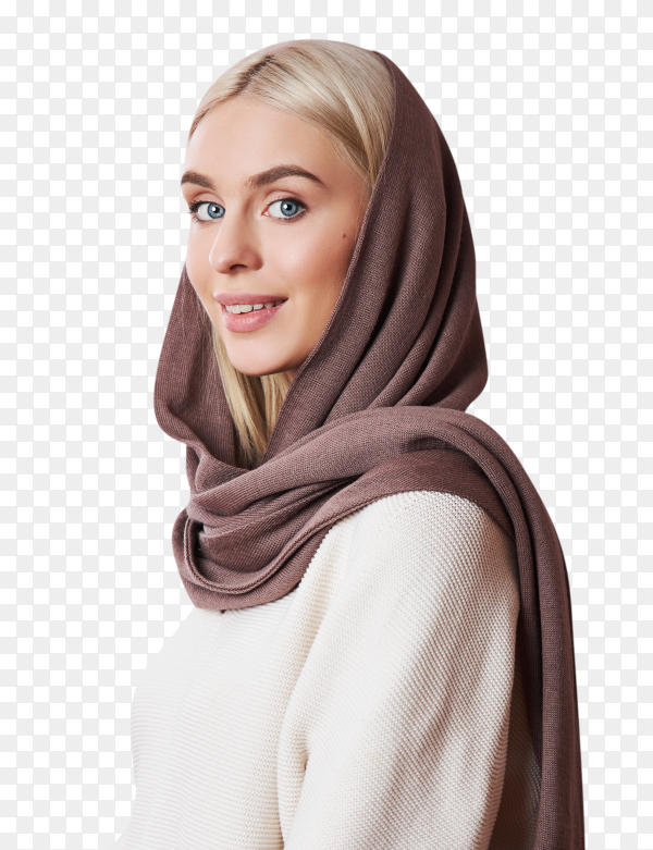 European muslim woman with blonde hair wearing headscarf on transparent background PNG