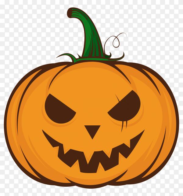 Evil halloween pumpkin cartoon emoji face character on transparent background PNG