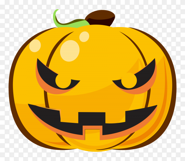 Evil halloween pumpkin cartoon emoji on transparent PNG