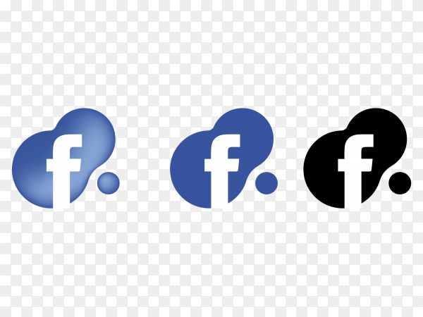 Facebook icons on transparent background PNG