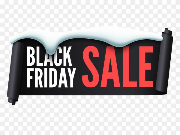 Flat design black friday sale on transparent background PNG