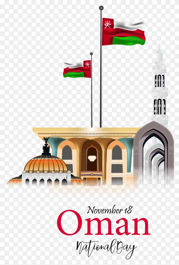 Flat design national day of oman on transparent background PNG