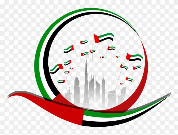 Flat design united arab emirates national day on transparent background PNG