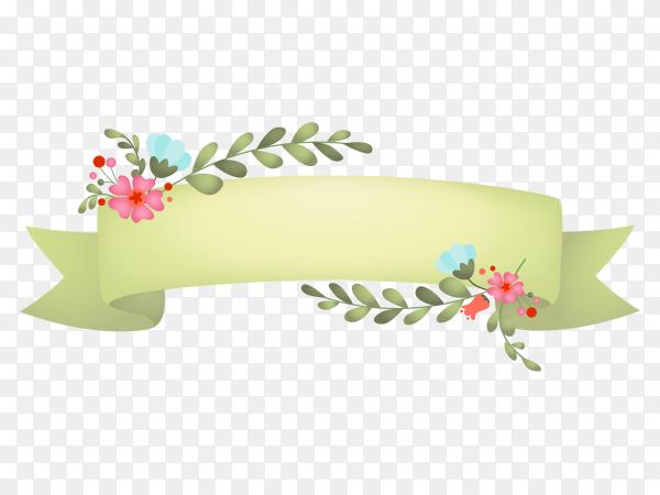 Floral green banner pastel color on transparent background PNG