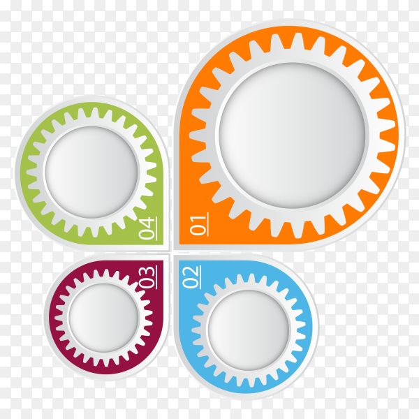 Four steps directional line infographic template on transparent background PNG