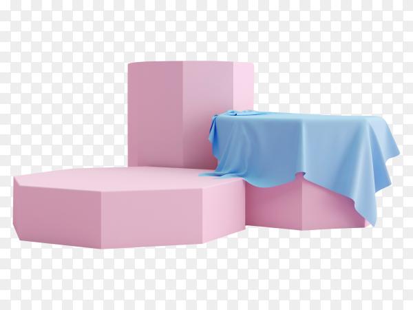 Geometric pink podium product presentation on transparent background PNG