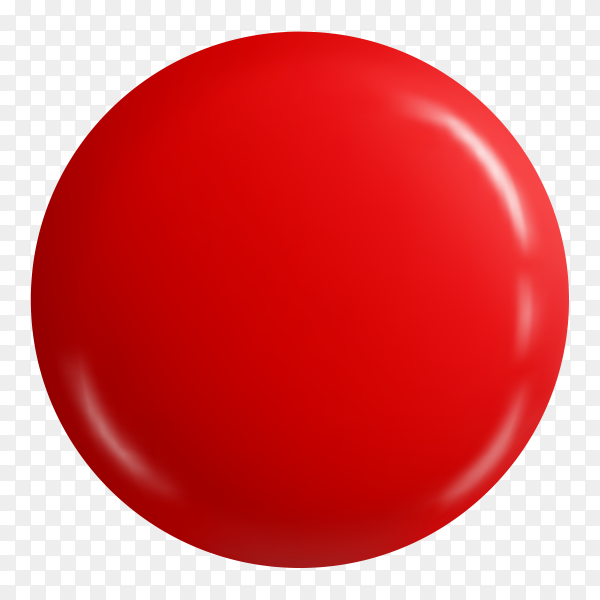 Glossy red button badge on transparent background PNG