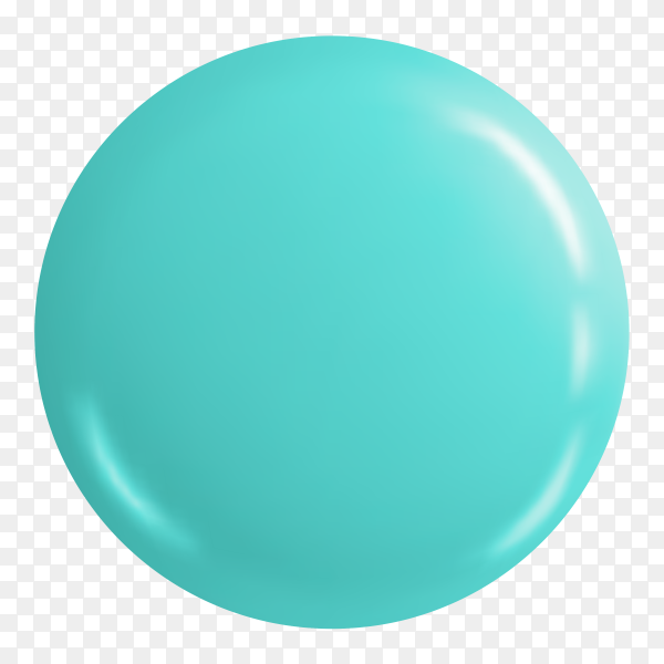 Glossy turquoise button badge on transparent background PNG
