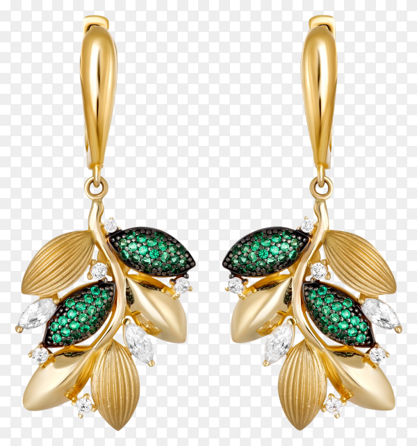 Gold earrings with green gems on transparent background PNG