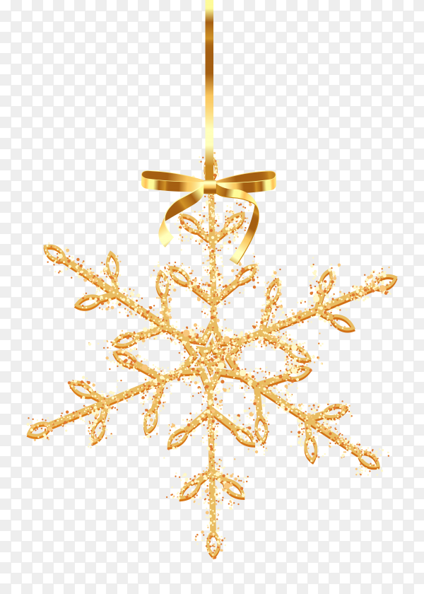 Gold glitter texture snowflake on transparent background PNG