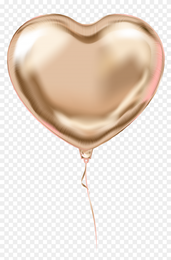 Gold helium balloon heart shaped flying on transparent background PNG