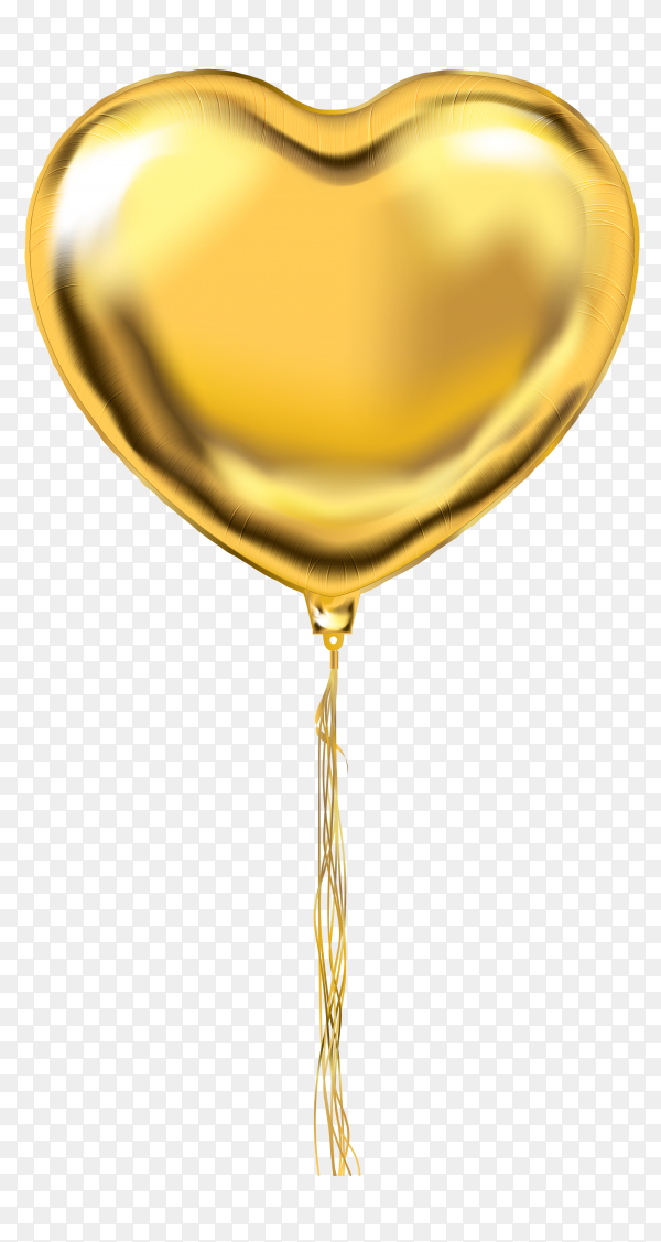 Gold helium balloon heart shaped on transparent background PNG