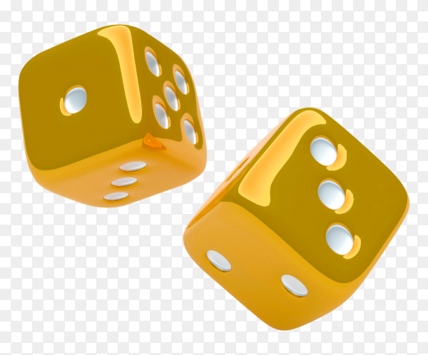 Gold ludo dice on transparent backgoround PNG