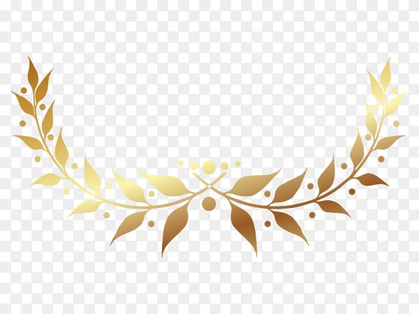 Golden Laurel wreath illustration on transparent background PNG