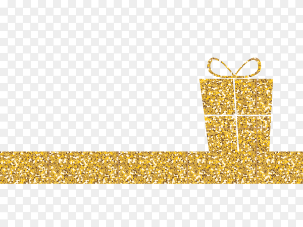 Golden box gift design on transparent background PNG