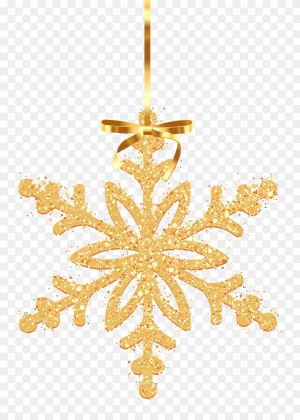 Golden decorative snowflake on transparent background PNG