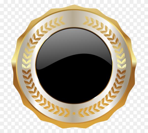 Golden empty badge label button design on transparent background PNG