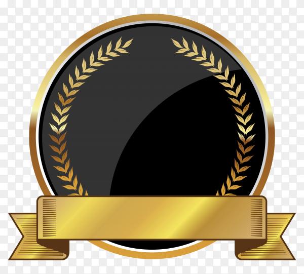 Golden empty badge label element on transparent background PNG