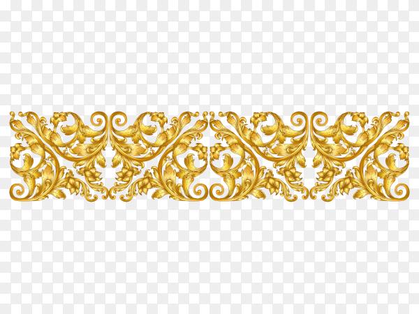 Golden floral descoration on transparent background PNG