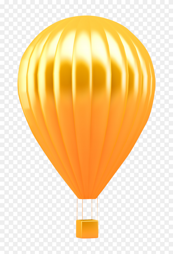 Golden hot air balloon on transparent background PNG
