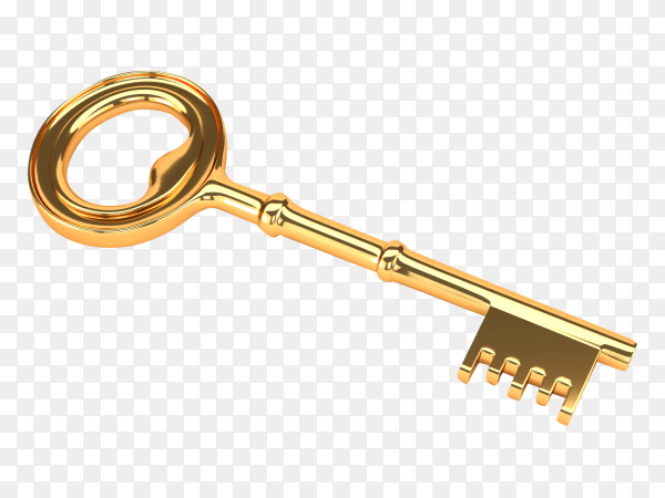 Golden key isolated on transparent background PNG
