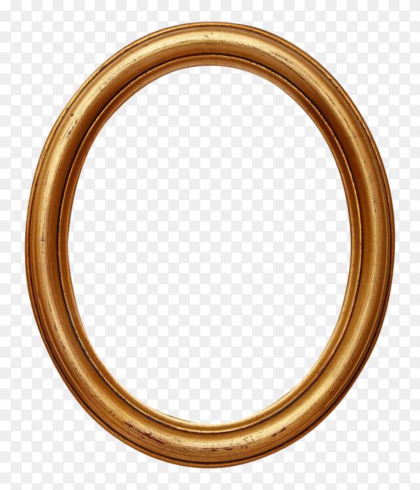Golden oval photo frame on transparent background PNG