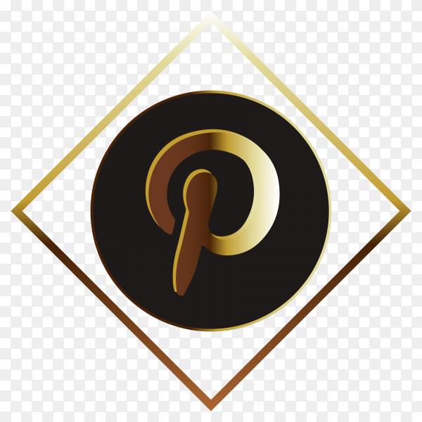Golden Pinterest logo on transparent background PNG